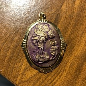 Hand Painted Fairy Cameo Gold Pendant